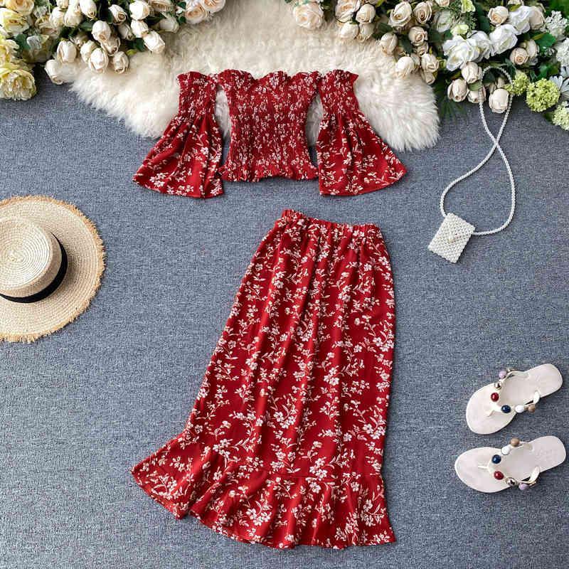 Rosso boho 2020 off spalla estate stampa floreale stampa midi abito lungo festa sexy due pezzi abiti abiti da donna casual spiaggia spaccata abiti