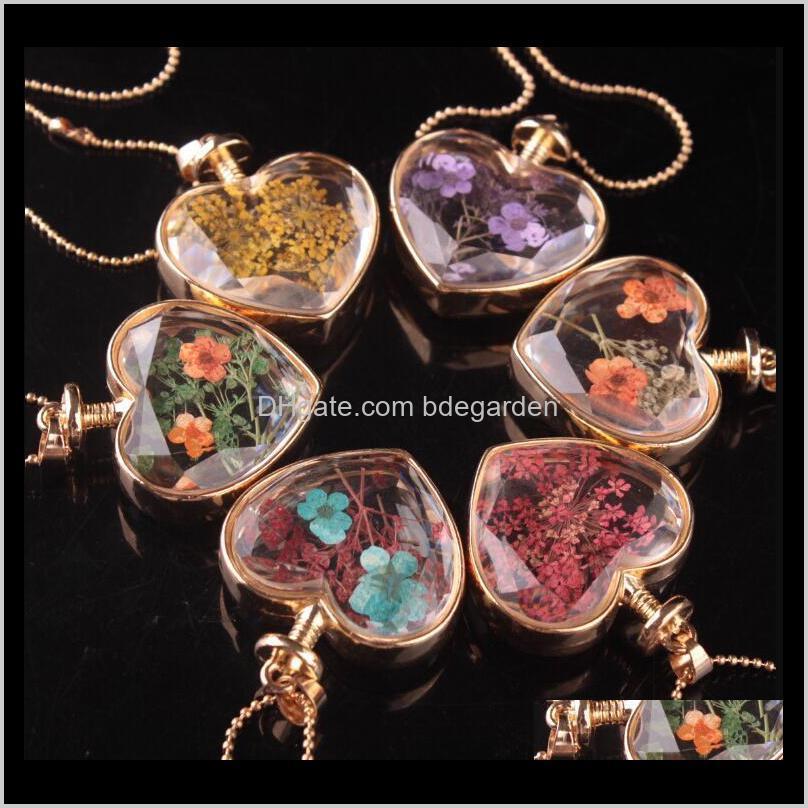 انخفاض التسليم 2021 مورانو شكل قلب lampwork الزجاج الروائح قلادة القلائد مجوهرات الزهور الجافة لكل المعلقات زجاجة القارورة WHVM7