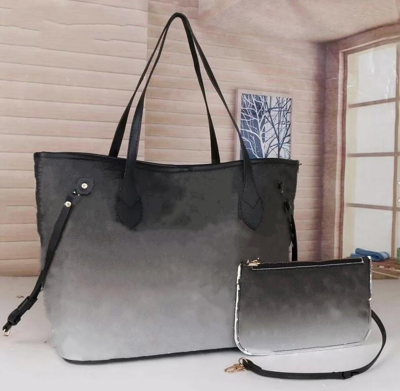 2021 Yeni 2 adet Set Klasik Tasarımcı Bayan Çanta Çiçek Bayanlar Kompozit Tote PU Deri Debriyaj Omuz Çantaları Kadın Çanta Cüzdan