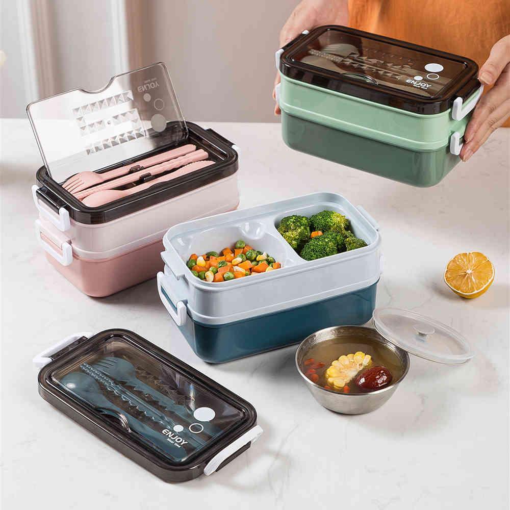 Tuuth almoço com sopa tigela para estudante escritório trabalhador microondas aquecimento duplo-camada bento alimento recipiente de armazenamento de recipiente