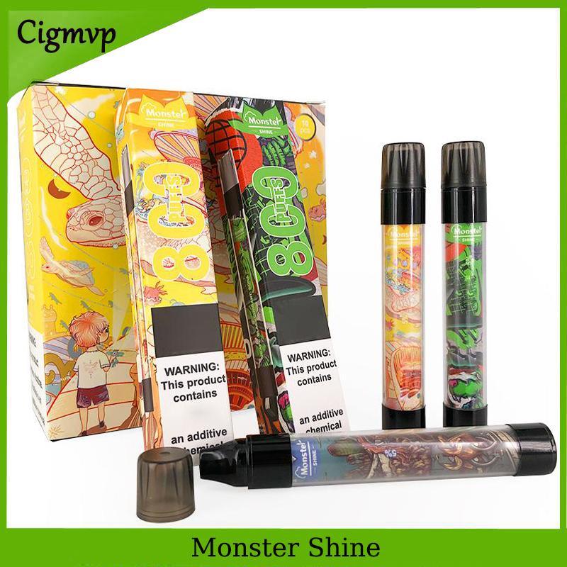 Mostro Monouso Monouso 8 colori Penna Vape Pen e dispositivo di sigaretta con luce a LED luminosa 550mAh Batteria 3ML Pod cartuccia precompillata 800 puffs kit di vaschette