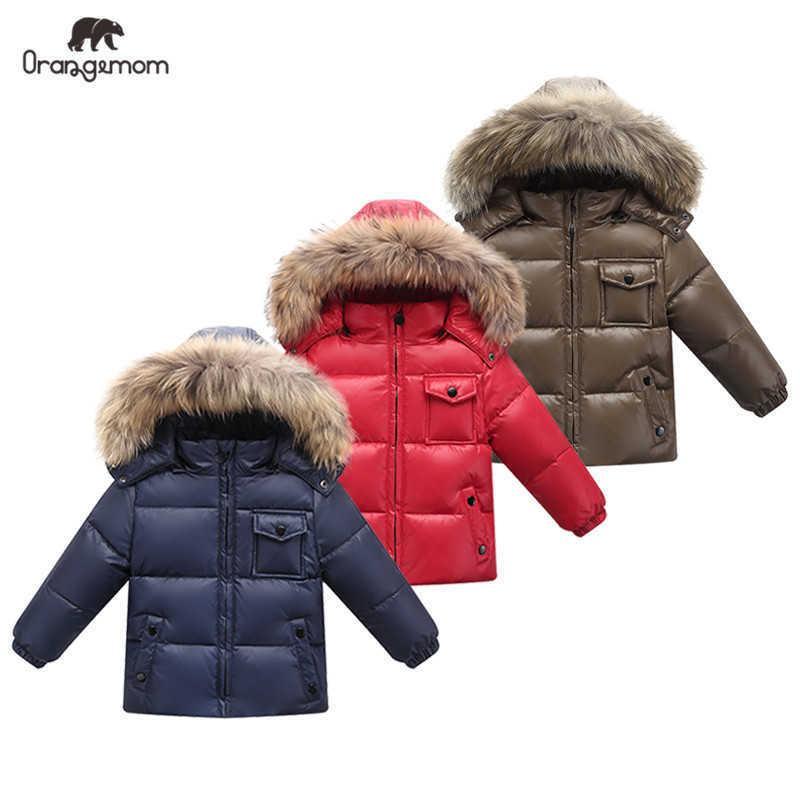 2021 New Orangemom 공식 상점 어린이 겨울 옷 오리 소년 소녀 자켓 아기 소년 코트 어린이 겨울 눈 outwear Q0827