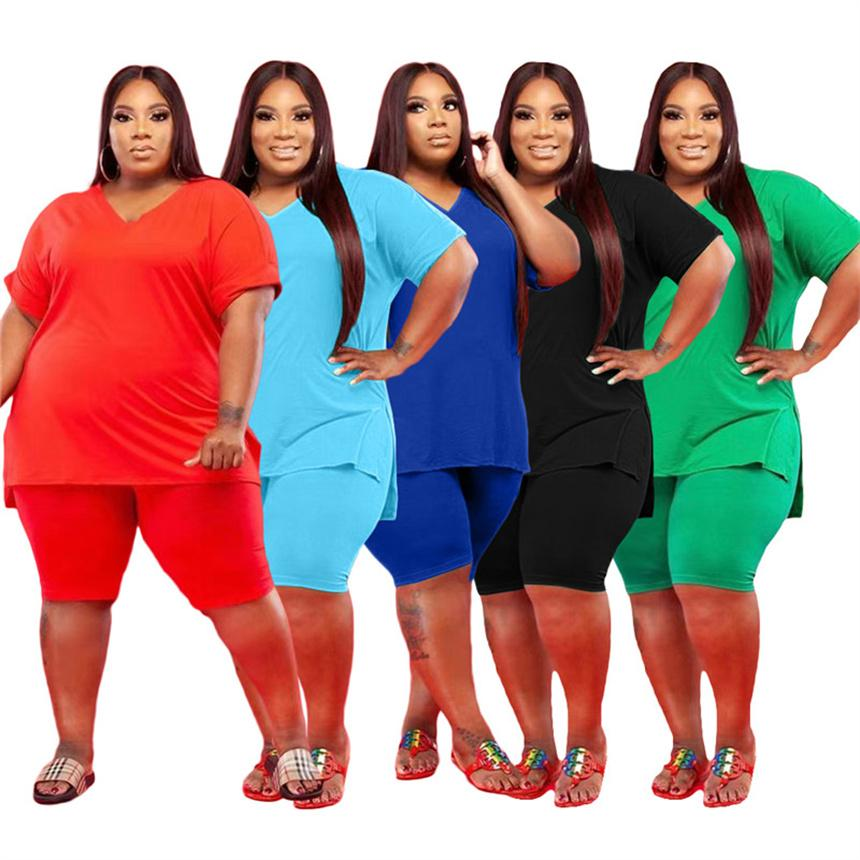 Women Plus size Tracksuits 5x solid color Two piece sets Summer clothing casual Sportswear short sleeve t shirt+shorts 5433