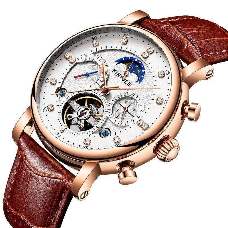 Otomatik Mekanik İzle Deri Rhinestone Yıldız High-end erkek Saatler Lüks Lüks Relogio Masculino Saatı