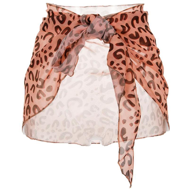 Swimwear feminino 2021 verão mulheres sexy leopardo chiffon sarong envoltório cachecol praia biquíni saia encobrir