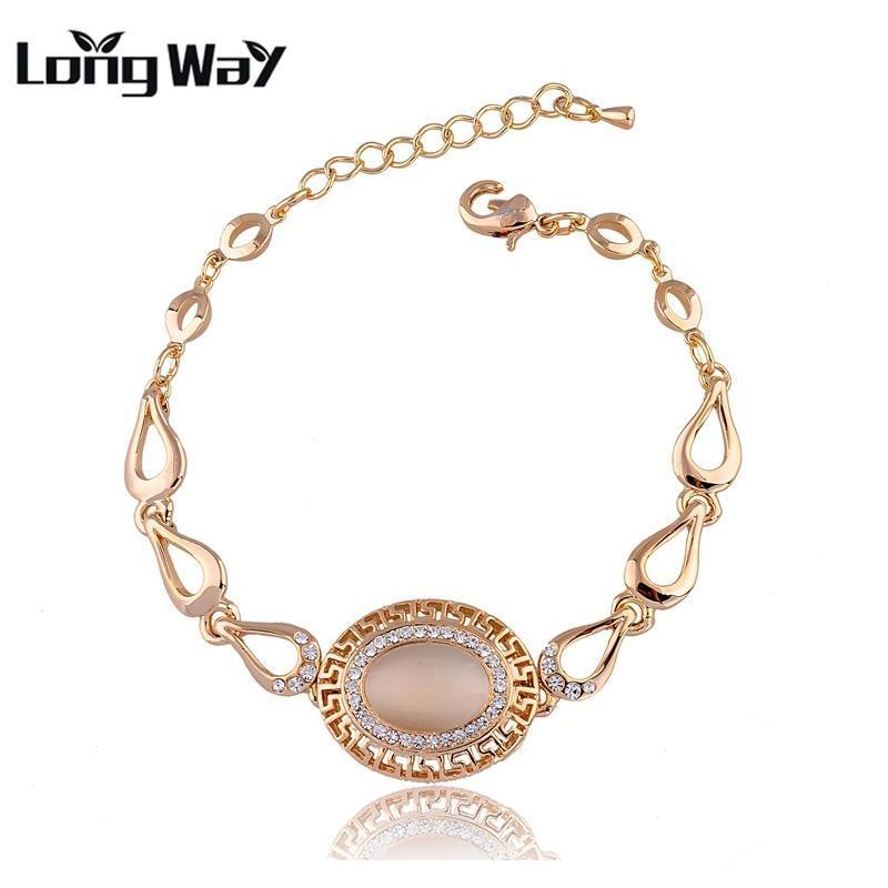 Longway Avrupa Takı Bilezik Bilezik Altın Renk Zincir Doğal Taş Opal ve Kadın Için Kristal Bilezik SBR140213 Link,