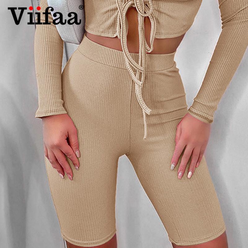 Шорты Viifaa Rifted Knit NY Biker для женщин Спортивная Jogger Летняя Весна Сплошные Повседневные Дамы