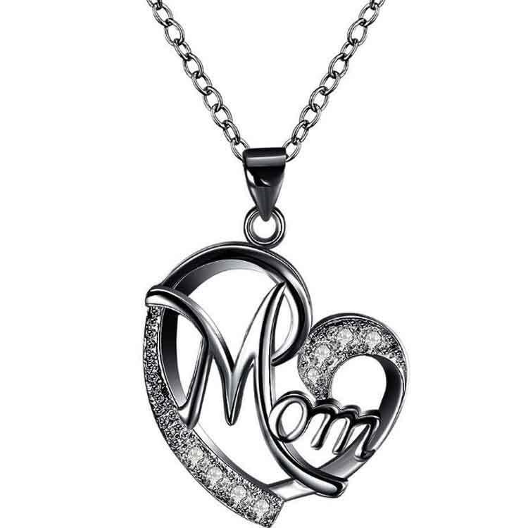 Nuevo collar de mujeres Mamá en forma de corazón Diamantes Feliz día de madre Negro rosa collar de plata Día de la madre Regalo DWA4600