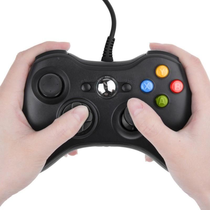تحكم اللعبة المقود USB سلكي Joypad Gamepad Black Controller for Official Microsoft PC Windows 7/8 10