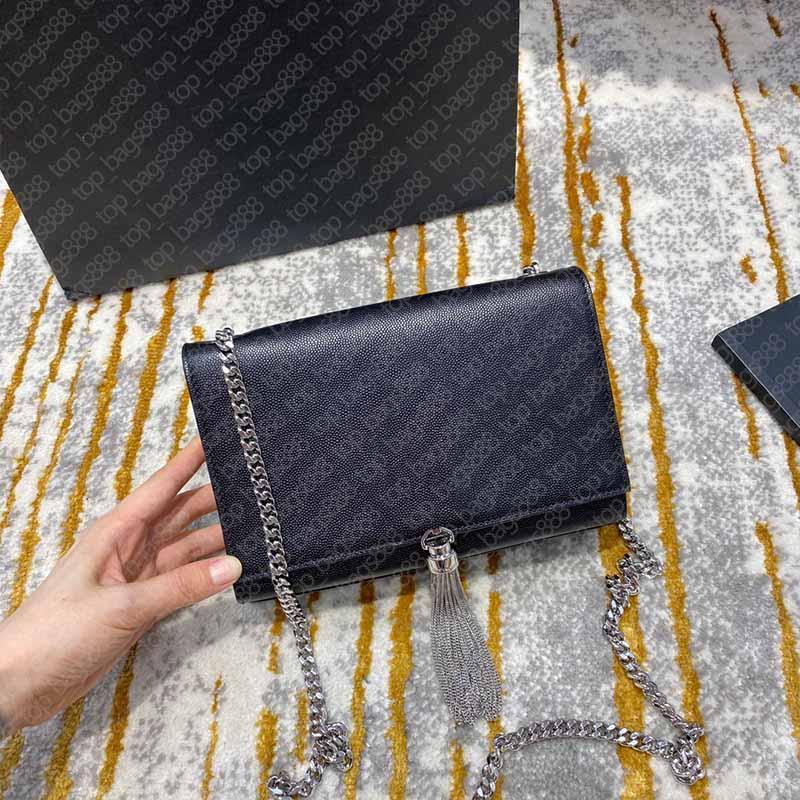 Designer marke frauen schwarz kalfskin caviar silber kette quaste tasche in strukturiert echtes leder top qualität handtaschen mit box schulter crossbody taschen