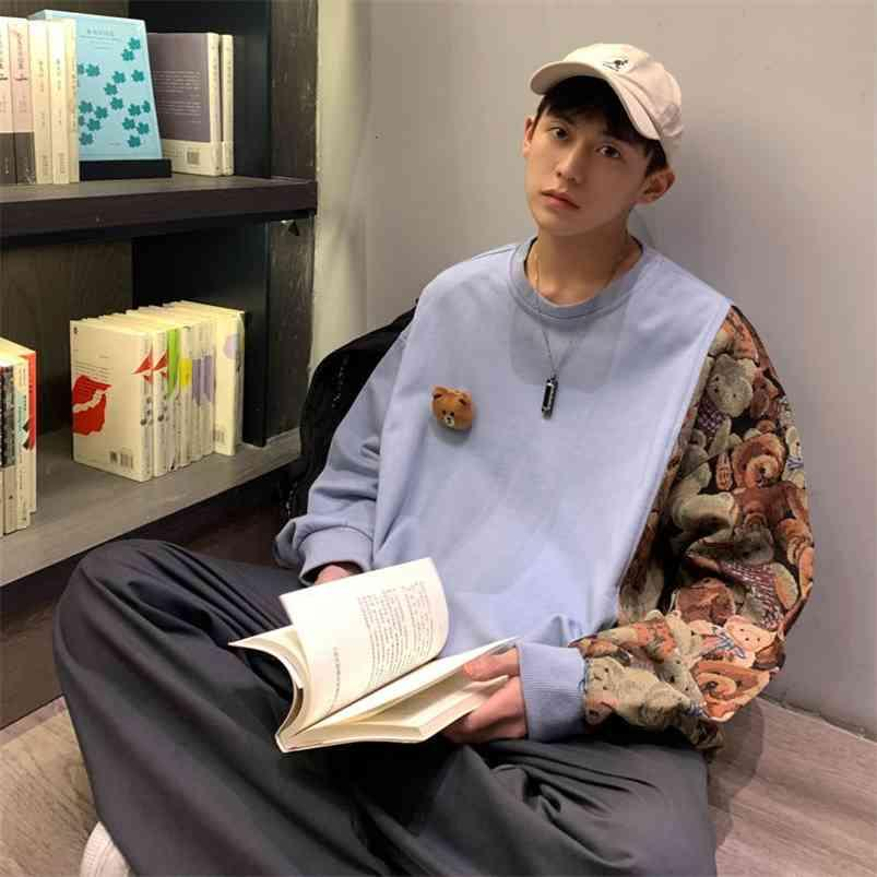 PrivathaeLinker Casual Casual Oversize Patchwork Sweatshirts Femme Coréen Streetwear Sweats à capuche Bear Graphique Imprimé Homme Vêtements 210728