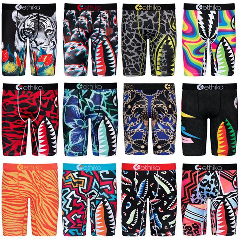 Herren Boy Shorts Designer Boxer Schnell trocken Atmungsaktive Slip Männer Unterwäsche Trendy Shark Print Kurze Hosen Sport Unterhosen Sommer Shorts S-2X