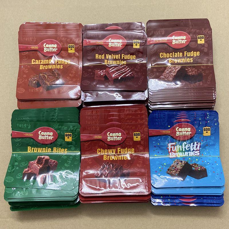 كيس التغليف البلاستيكي الصالحة للأكل 600 ملغ مدة القنا زبدة الشوكولاته الدجوة الكعك لدغات أكياس ordibles mylar