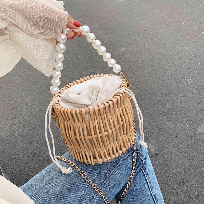 NEW Pearl bag women's new hand-woven straw bag rattan crossbody shoulder bags ins wild evening clutch bags C0326