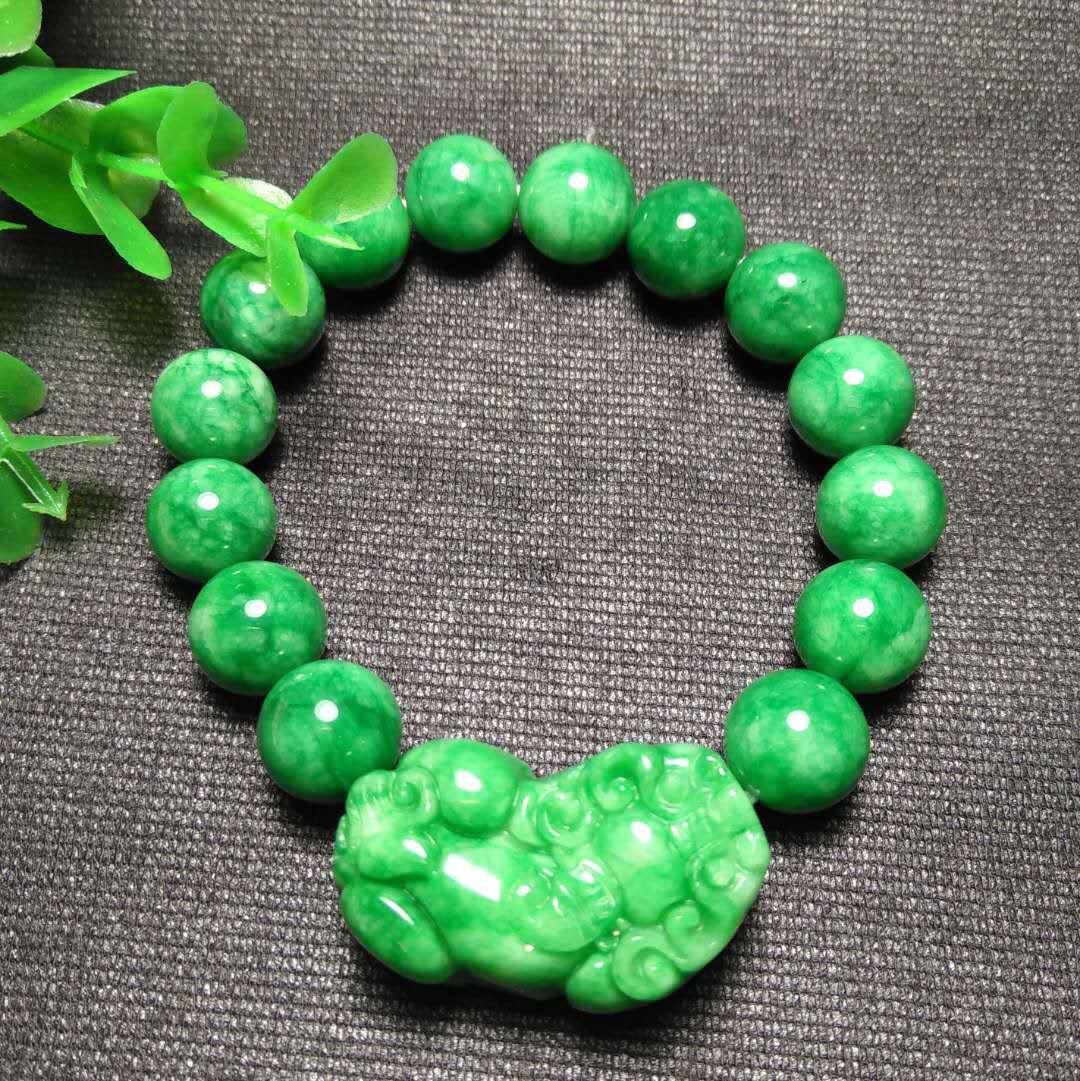 Pulsera de jade verde natural 12mm Pulsera ajustable Pixiu Bangle Charm Joyería Accesorios de moda tallada a mano Man amulet regalos