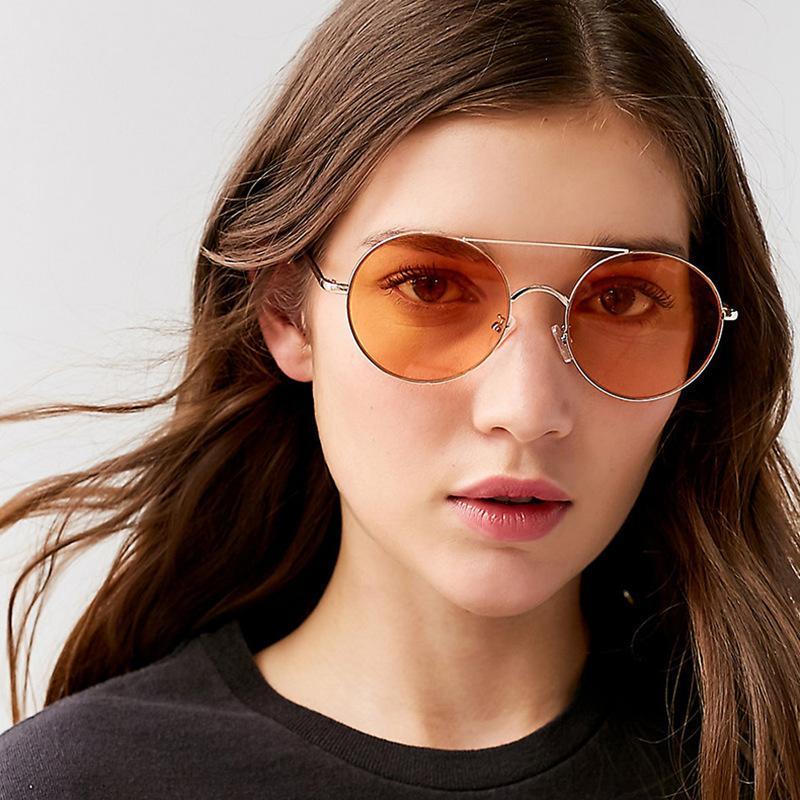 Novo metal redondo quadro sunglasses tendência de oceano lente óculos de sol dobro mulher óculos de sol