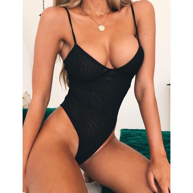Sexy Black Mesh Swimsuit Women One Piece Bikini Set Beach Wear High Leg Monokini Bathing Suits Swimming Swimwear Maillot De Bain Women's