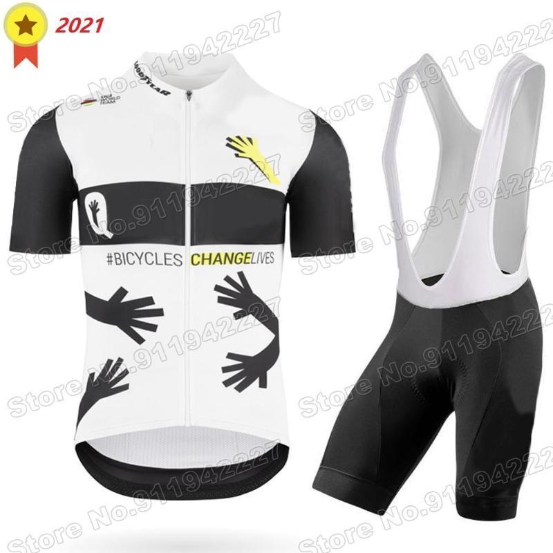 레이싱 세트 2021 Qhubeka 사이클링 의류 프로 팀 저지 세트 남성 도로 자전거 셔츠 정장 자전거 턱받이 반바지 Mtb Ropa Ciclismo Maillot