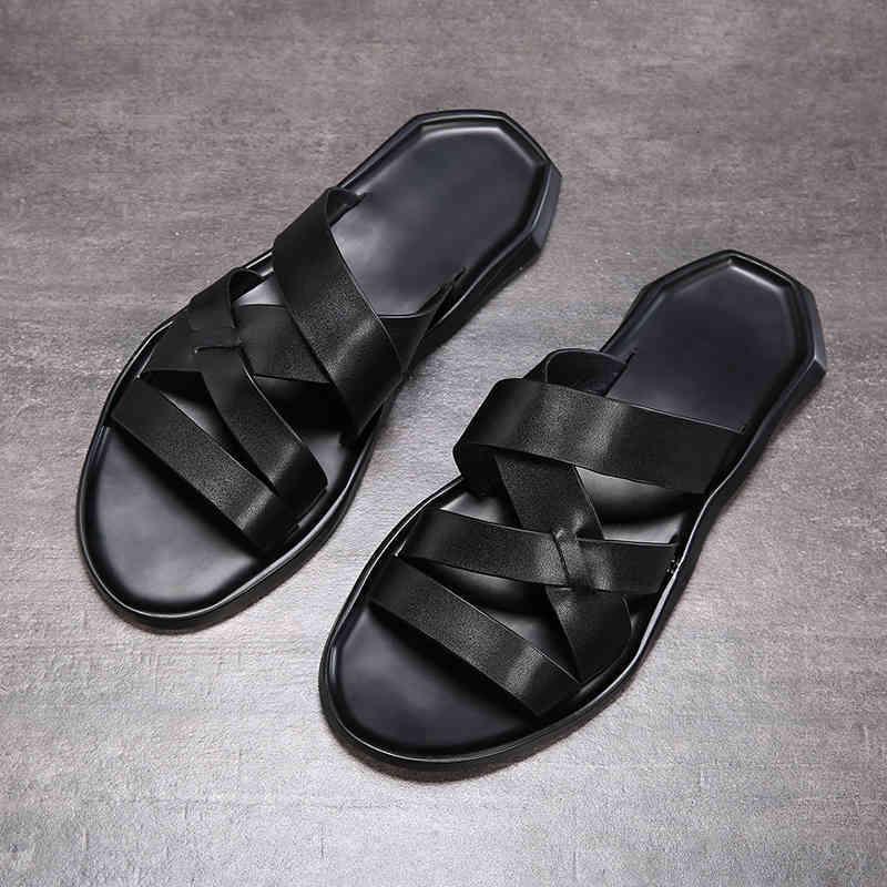 Erkek 2021 Yaz Sandalet Üst Katman Deri Plaj Ayakkabı Fasion Rahat Nefes Kaymaz Yumuşak Tabanlar Sandalet Erkekler