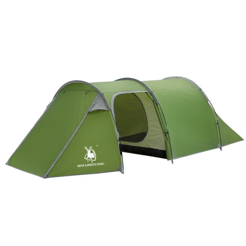 Camping al aire libre Campaña ultraligero ultraligero Impermeable 3-4 Persona Túnel de doble capa para abrir tiendas de campaña anti ucualizadoras # G25 y refugios