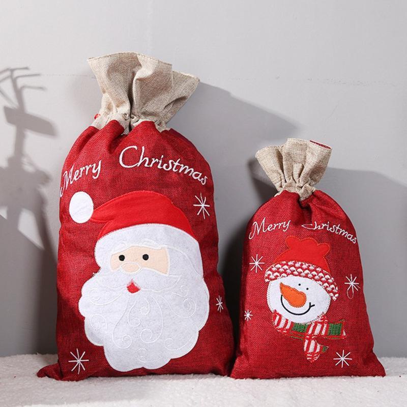 Decoraciones de Navidad Regalo Bolsa de caramelo Santa Claus Suministros de fiesta Accesorios de cordón para