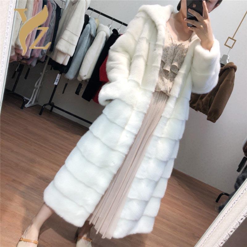 Ankunft 2 Stil X-Long Echt Fell Mäntel Ganze Haut Nerz Mantel Für Frauen Pelzige Hauben Customized Plus Size Kragen Wurmjacke Frauen Faux