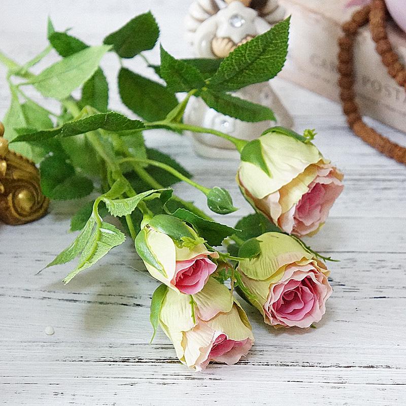 4 головы шелковые розы искусственные цветы длинные стебель свадебные украшения поддельных цветов пластиковые ветви с листьями дома декор гостиниц