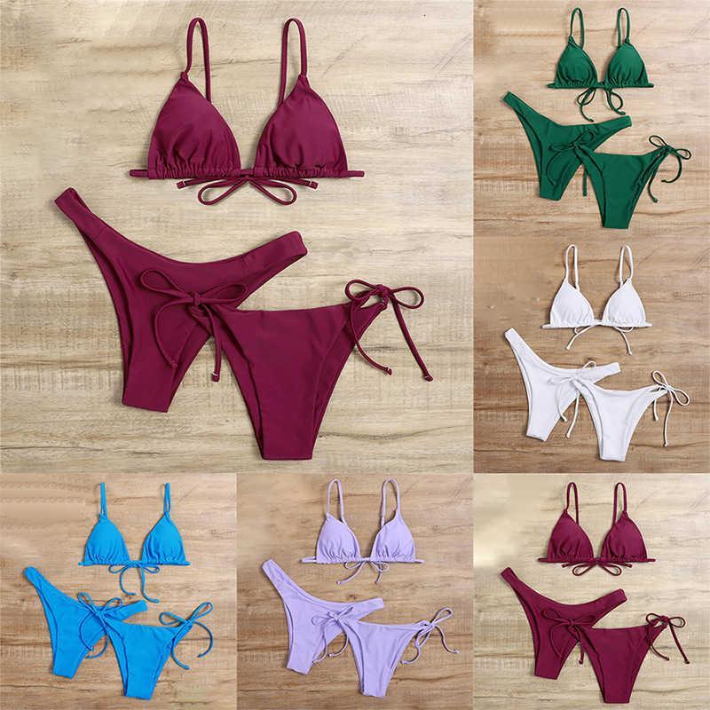 2021 Bikini sexy color sólido traje de baño de tres piezas para damas