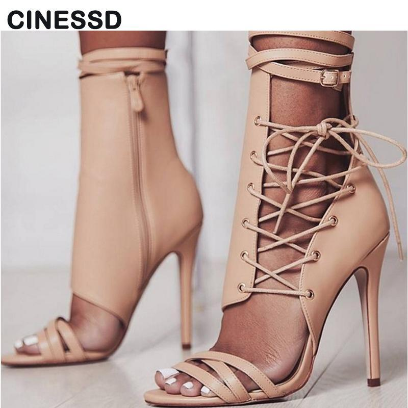 Roman Style Sexy Gladiator Sandals Open Toe Leather Women Lace-up Buckle 11.5cm High-heeled Black Big Size 35-42