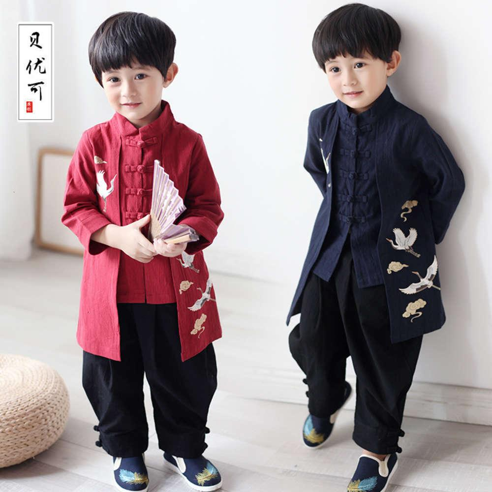 Sweats à capuche Sweatshirts Chaussures physiques et Bayouke Hanfu Hanfu Automne Boys 'Printemps Court Cardigan Chine Sle Costume Tang Children
