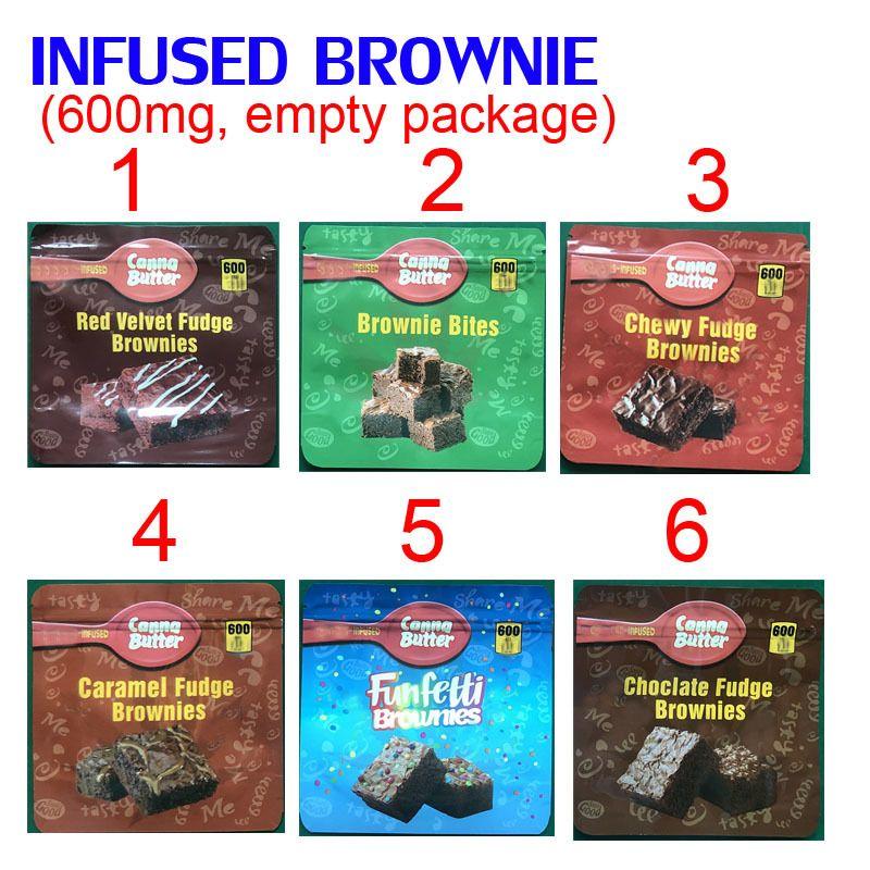 600mg Infundierte Brownie Bites Edibles Verpackung Mylar Taschen Rot Samt Chewy Caramel Funfetti Brownies Schokolade 8cw1
