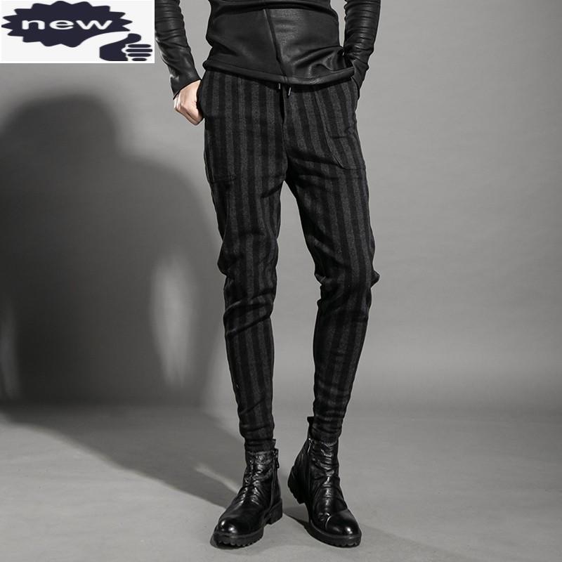 망 패션 스트라이프 조깅 탄성 허리 캐주얼 하렘 남자 봄 가을 긴 연필 바지 streetwear 바지 36 남자