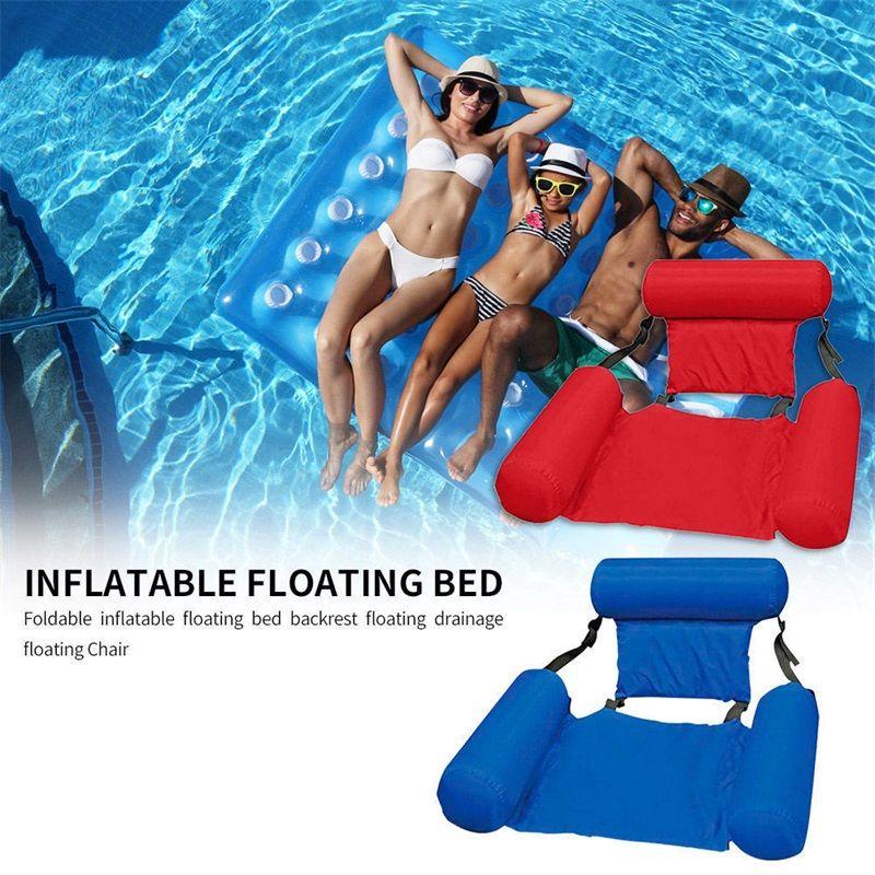 PVC Summer Gonflable Rangée pliable Piscine Piscine Hammock Air Matelas Lit Beach Eau Sports Lounger Chaise 538 Z2
