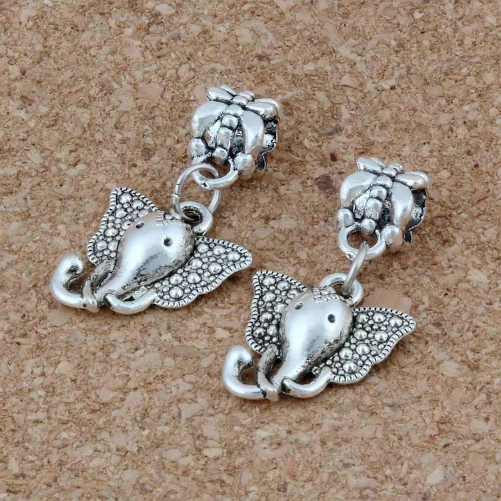 100pcs / lot Argento anticato Elephant Head Fascino Dangles Perline per la creazione di gioielli, orecchini, collana e braccialetto 15x28mm A-219A