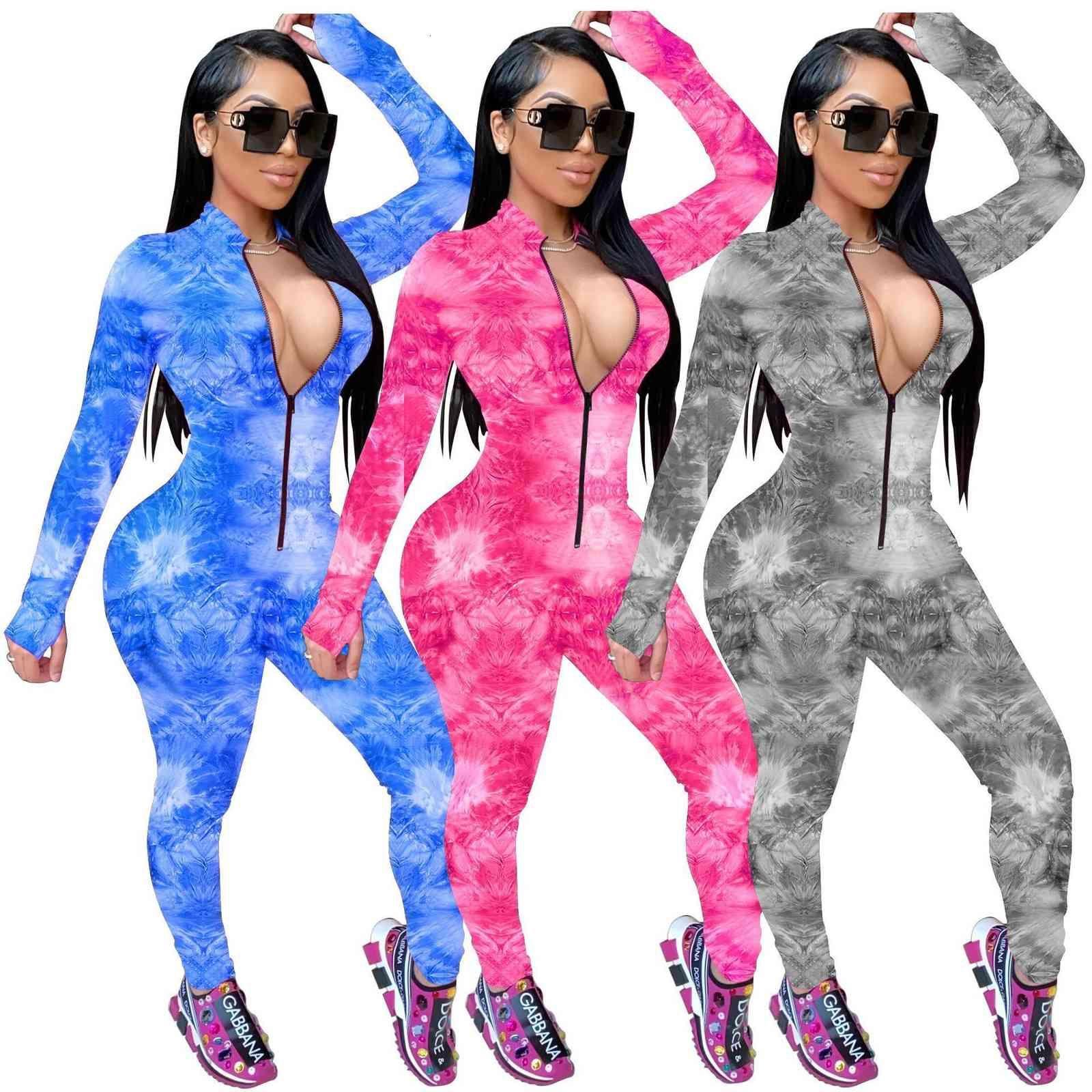 Tute da donna Tuta 2020 Allenamento Slim-Fit Stampato Zipper Skinny Skinny Stampa a caldo Tute Collo V-Neck Onesies Donne Plus Size Pagliaccetti