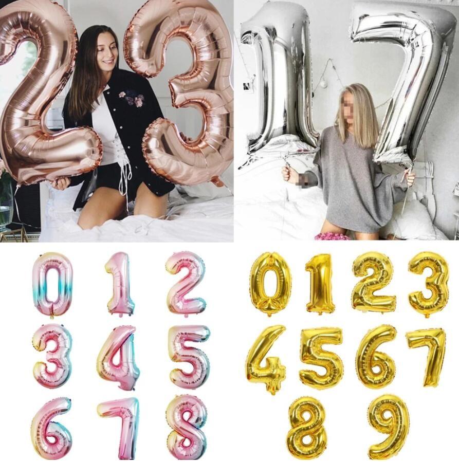 32 pollici numero di alluminio palloncini in oro rosa oro argento cifra figura palloncino bambino adulto compleanno decorazione di nozze forniture per feste giocattolo baloon