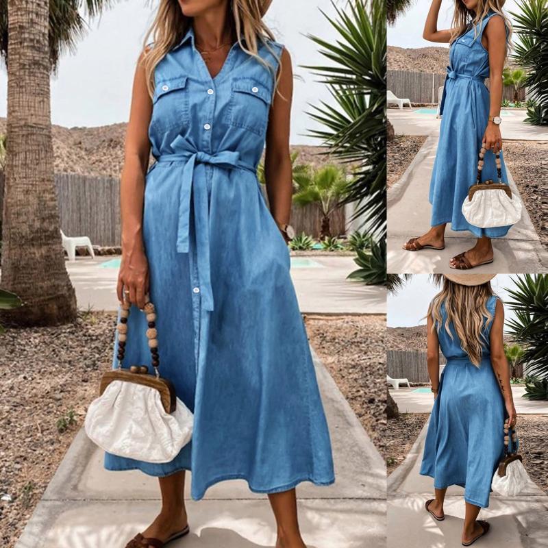 Vestidos casuales Color Sólido Mujer Vestido de verano Ropa sin mangas 2021 Sundress Largo Lazo Cintura Sipón Breasted Vintage