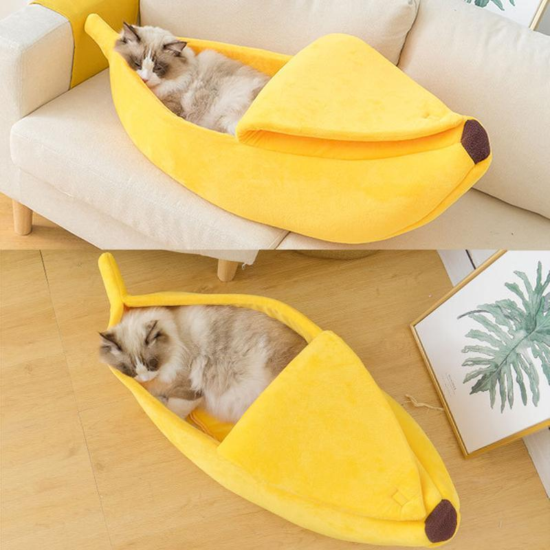 7 Colors Banana Shape Cat Bed Dog House Kennel Durable Cat Nest Winter Warm Puppy Cushion Kennel Pet Supplies