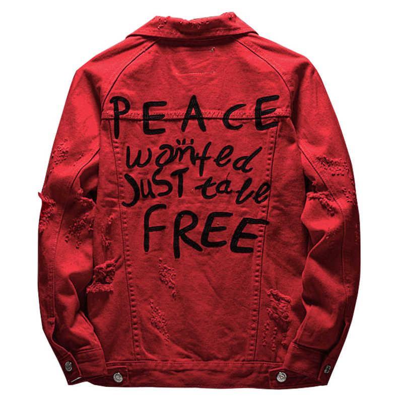 Männer Jacken Sokotoo Männer Buchstaben geboren Red Jean Gaten Ripping Denim Jas Top Kleidung