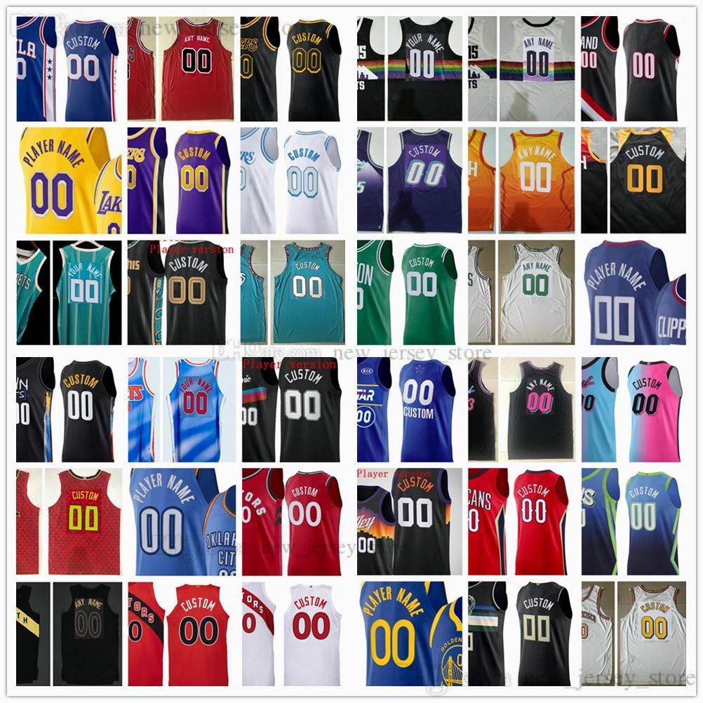 Versión auténtica del jugador cosido Jerseys de baloncesto Top Calidad 2021 2022 Noticias Hombre Negro Azul Blanco Amarillo Jersey Purple Size XS-XXL