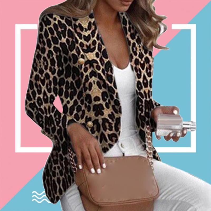 Women's Suits & Blazers Leopard Print Women Blazer Long Sleeve Lapel Button Suit Slim Fits Business Jacket Coat