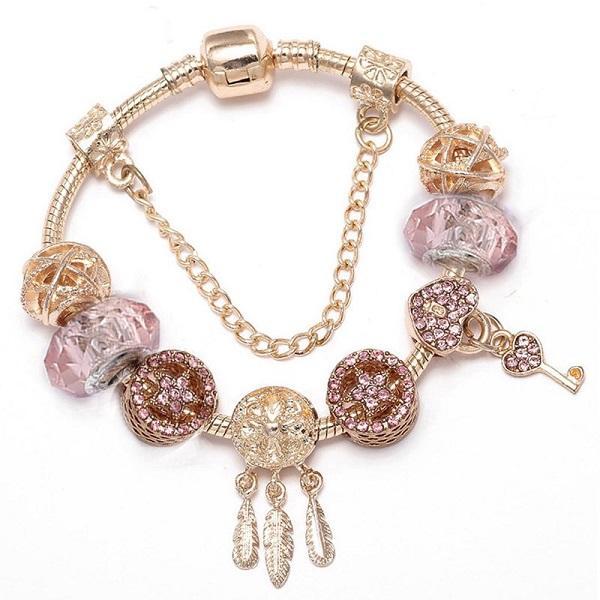 Top Qualität Silber Rosa Kristall Charme Perlen Schließfach Key Dream Catcher Fits Euro Pandora Charms Armbänder Sicherheitskette Schmuck DIY Frauen