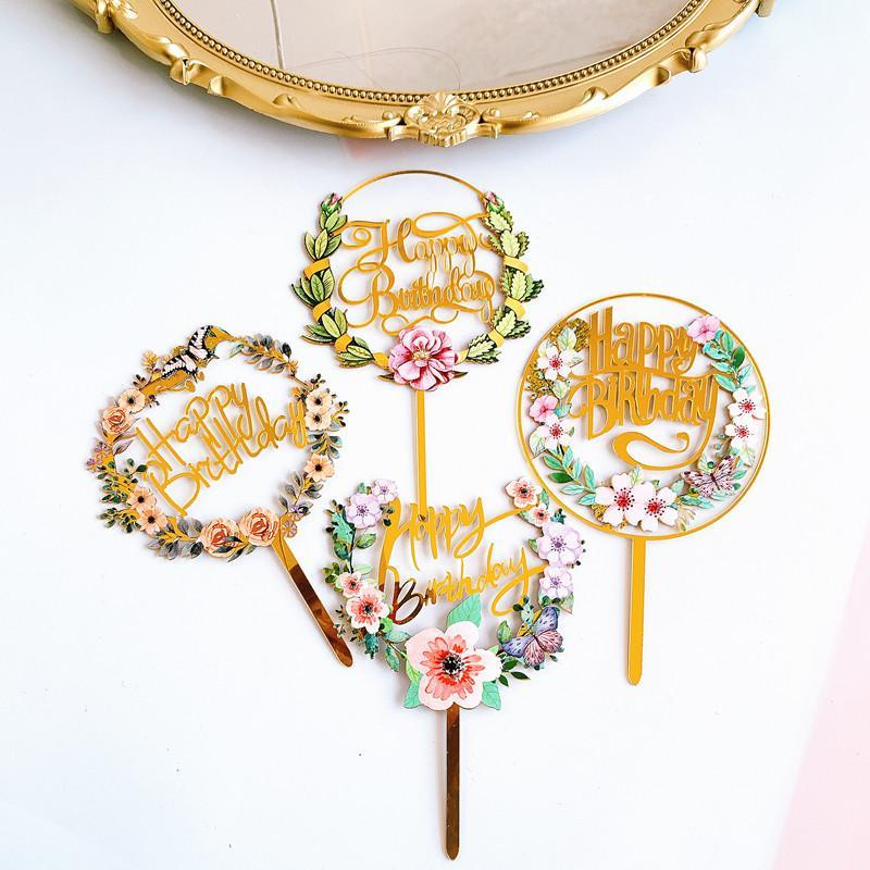 الزهور الملونة عيد ميلاد سعيد كعكة توبر الذهبي الاكريليك حزب الحلوى الديكور ل r الخبز اللوازم الأخرى احتفالي