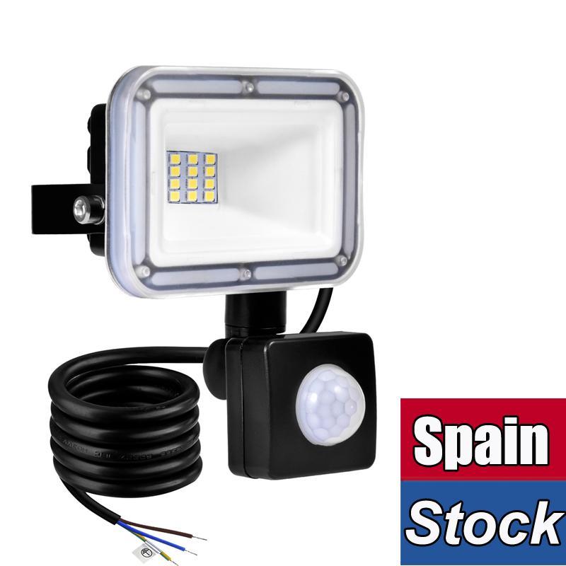 Sensor de movimento levou luzes de inundação 50w holofotes de segurança ao ar livre IP66 À Prova D 'Água Auto On / Off Lâmpada para Garagem Billboard Armazém Escadas 6500K AC86-265V