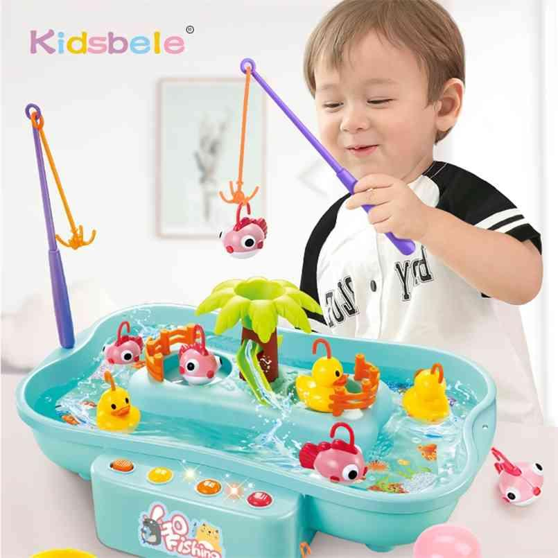 Kids Fishing Toys Electric Water Cycle Music Light Baby Bath Toys Child Game Play Fish Outdoor Toys Fishing Games For Children 210901