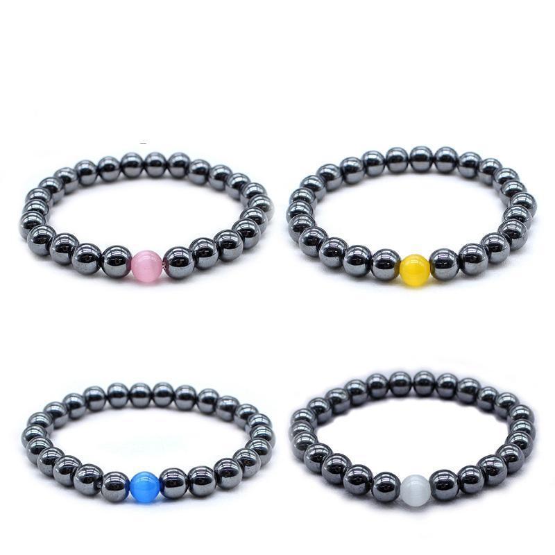 Braccialetto nera della natura magnetica dell hematite del braccialetto giallo Blu giallo Braccialetti di fascino dei braccialetti di fascino dei braccialetti di fascino dei braccialetti per gli uomini