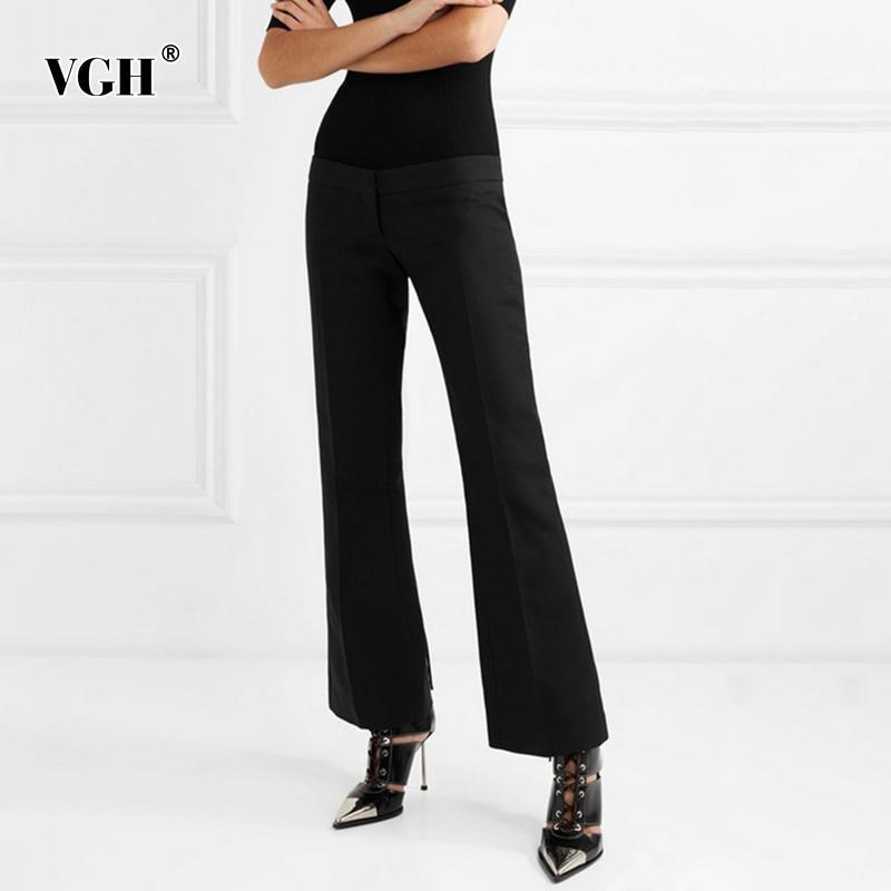 VGH Siyah Minimalist Flare Pantolon Kadınlar Için Yüksek Bel Katı Tam Boy Düz Pantolon Kadın Moda Giyim Sonbahar 210421