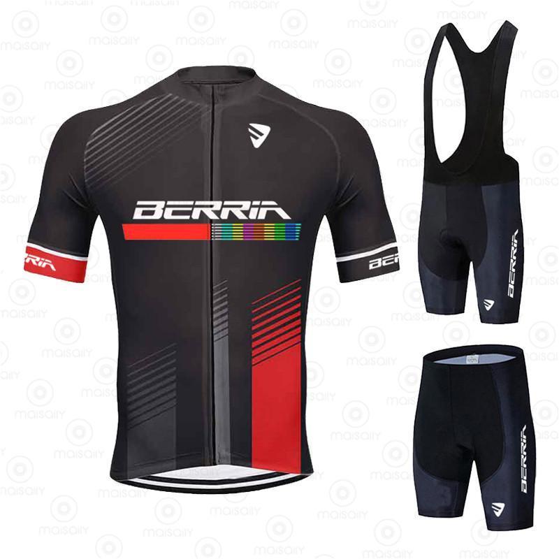 레이싱 세트 사이클링 저지 세트 2021 Pro 팀 베리 르리아 여름 자전거 의류 자전거 의류 남성 산 스포츠 슈트