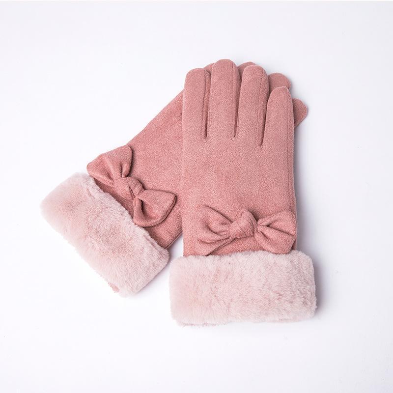 Five Fingers Guantes 2021 Pantalla táctil Mujeres Invierno Encaje Cálido Cashmere mitones Peluche Muñeca Conducción Defensa Térmica Frío