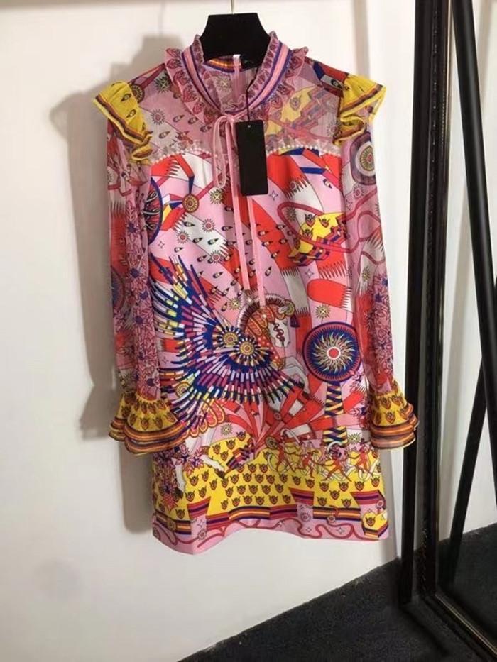 2021 Standı Yaka Uzun Kollu Panelli Baskı Moda Milan Pist Tasarımcısı Elbise Marka Aynı Stil Elbise 0511-3